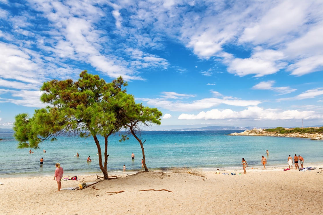 Vourvourou beach in Halkidiki, Greece